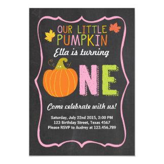 Pumpkin Birthday invitation Pink First Birthday