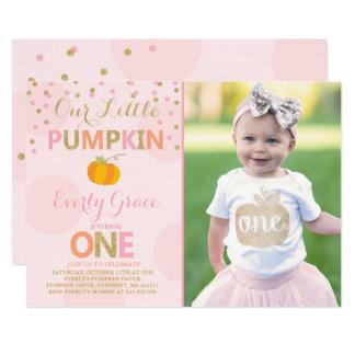 Pumpkin Birthday Invitation Pink Gold Pumpkin