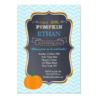 Pumpkin Birthday Invitations for boy