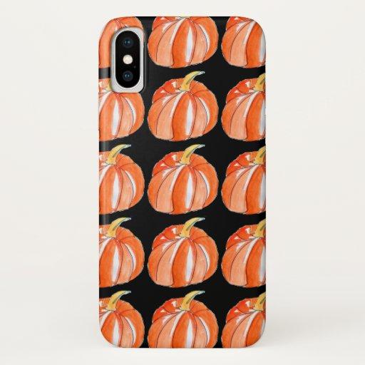 Pumpkin black and orange Halloween theme iPhone XS Case