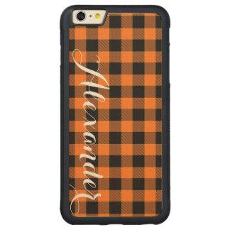 Pumpkin Black Buffalo Check Plaid Name Monogram Carved Maple iPhone 6 Plus Bumper Case