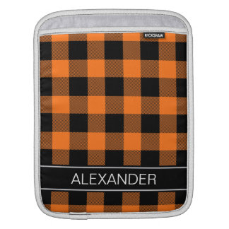 Pumpkin Black Buffalo Check Plaid Name Monogram iPad Sleeve
