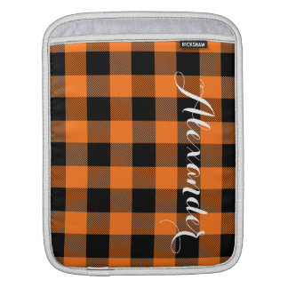 Pumpkin Black Buffalo Check Plaid Name Monogram Sleeve For iPads