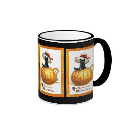 Pumpkin , Black Cat & Kid Hallowe'en Mug