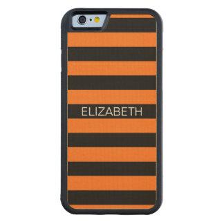 Pumpkin Black Horiz Preppy Stripe Name Monogram Carved Maple iPhone 6 Bumper Case
