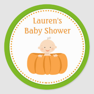 Pumpkin Boy Baby Shower Favor Tag Stickers