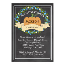 Pumpkin Boy Birthday Party Chalkboard Invitation
