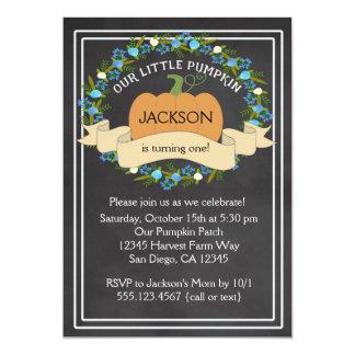 Pumpkin Boy Birthday Party Chalkboard Invitation