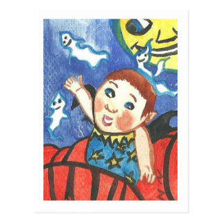 Pumpkin boy fantasy Postcard