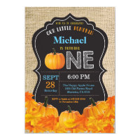 Pumpkin Boy First Birthday Invitation Blue Burlap