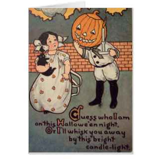 Pumpkin Boy (Vintage Halloween Card) Greeting Card