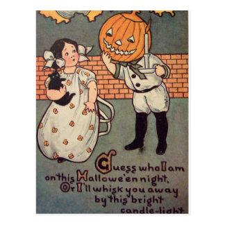 Pumpkin Boy (Vintage Halloween Card) Postcard