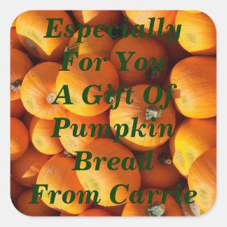 Pumpkin Bread or Pie Mix Label Homemade Squash Square Sticker