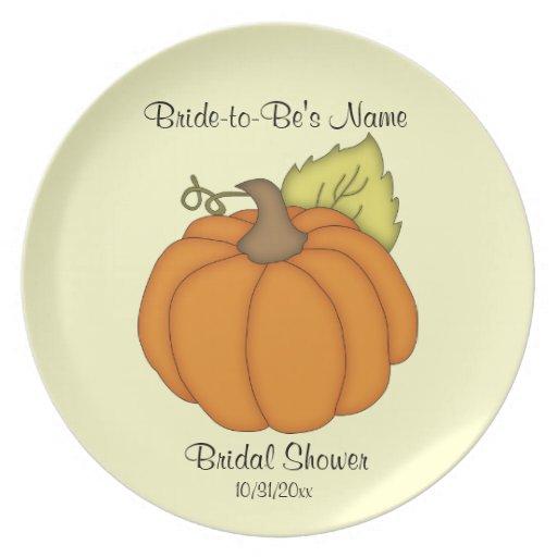 Pumpkin Bridal Shower Keepsake Plate