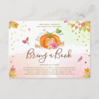 Pumpkin Bring a book Fall Autumn Baby Shower Pink Enclosure Card
