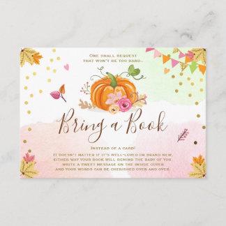 Pumpkin Bring a book Fall Autumn Baby Shower Pink Enclosure Card