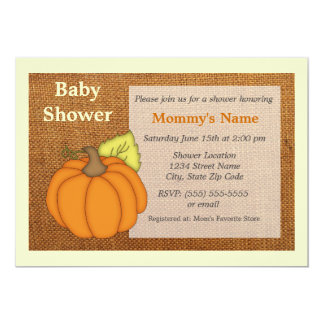 "Pumpkin Burlap Baby Shower Invitation 5"" X 7"" Invitation Card"