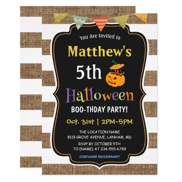 Pumpkin Burlap Halloween Kids Birthday Party Card