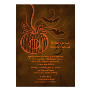 Pumpkin Cage Halloween Wedding Invitation