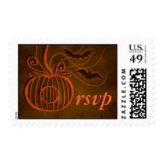 Pumpkin Cage Halloween Wedding RSVP Postage Stamps