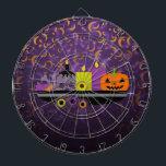 "Pumpkin &amp; Candles Potpourri Purple Dartboard<br><div class=""desc"">Cool and festive dartboard featuring Pumpkin &amp; Candles Potpourri Purple design - great for Halloween decor!</div>"