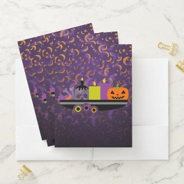 Halloween Themed Pumpkin & Candles Potpourri Purple Pocket Folder
