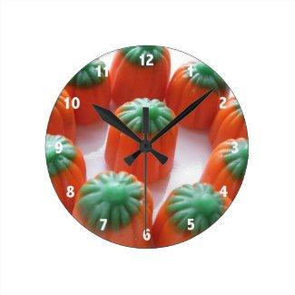 Pumpkin Candy Corn Wall Clocks