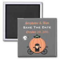 Pumpkin Carriage At Night Save The Date Magnet