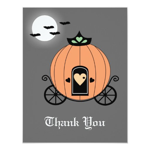 "Pumpkin Carriage at Night Thank You Card 4.25"" X 5.5"" Invitation Card"
