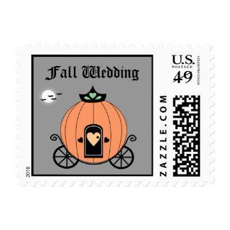 Pumpkin Carriage At Night Wedding Postage