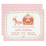 Hand shaped Pumpkin Carriage First Birthday Party Invitations