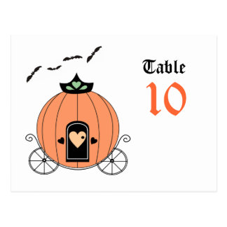 Pumpkin Carriage Table Number Postcard