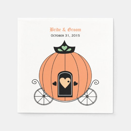 Pumpkin Carriage Wedding Paper Napkins