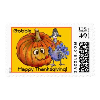 Pumpkin Cartoon Turkey  Postage Stamps