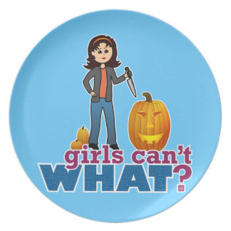 Pumpkin Carver Girl Melamine Plate