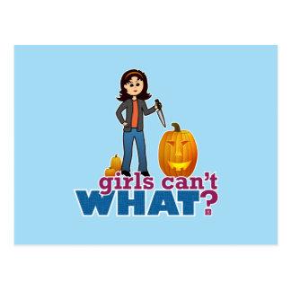 Pumpkin Carver Girl Postcard