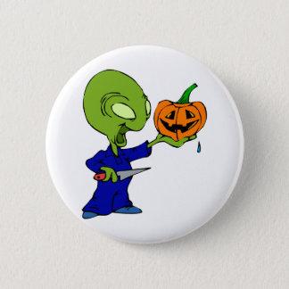 Pumpkin Carving Alien Pinback Button