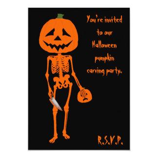 Pumpkin carving Halloween Card