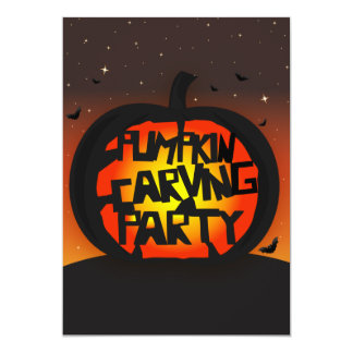 Pumpkin Carving Halloween Invitation - Custom