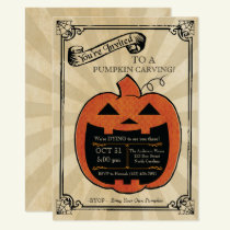 Pumpkin Carving Halloween Party Bash Invite