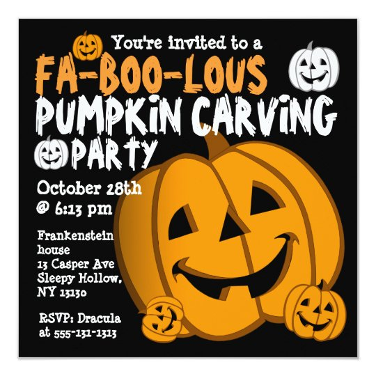 pumpkin carving halloween party invitation zazzle com