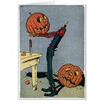 Pumpkin Carving His Own Head - Halloween Card