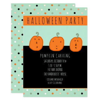 pumpkin carving party card