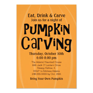 Pumpkin Carving Party   Halloween 5x7 Paper Invitation Card