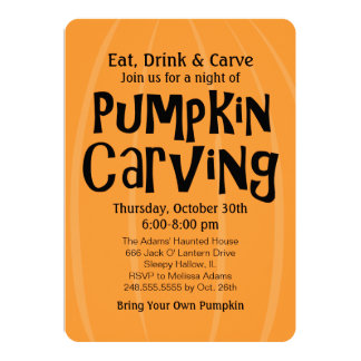 "Pumpkin Carving Party | Halloween 5"" X 7"" Invitation Card"