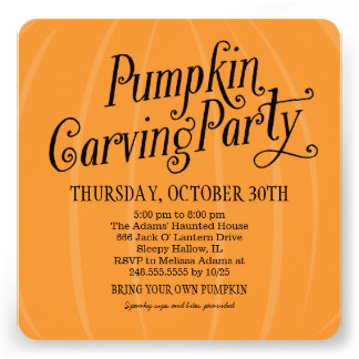 Pumpkin Carving Party | Halloween Personalized Announcements