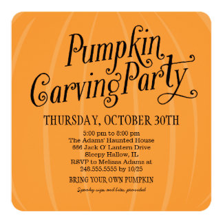Pumpkin Carving Party | Halloween 5.25x5.25 Square Paper Invitation Card