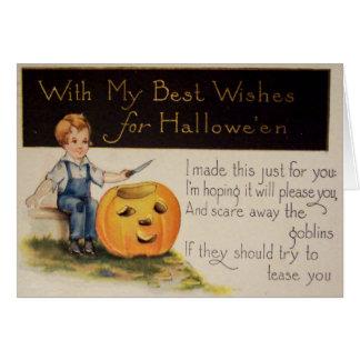 Pumpkin Carving (Vintage Halloween Card) Greeting Card
