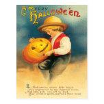 Pumpkin Carving Vintage Postcard