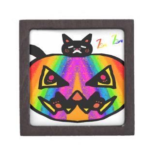 Pumpkin Cat Black Jewelry Box